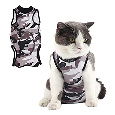 Due Felice Cat Professional Surgical Recovery Suit for Abdominal Wounds Skin Diseases, After Surgery Wear, E-Collar Alternative for Cats Dogs, Home Indoor Pets Clothing Camouflage/L
