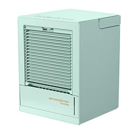AAADRESSES Mini Ventilador Enfriador Aire Acondicionado, Enfriador Aire Portátil Recargable 5000 mAh, para Enfriamiento Aire en Hogar o Oficina,Verde