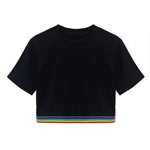 Damen Gestreift Crop Top Sommer, Teenager M?dchen Kurzarm Streifen Shirt Bauchfrei Oberteile Sport T-Shirts Tops Bluse Pullover Sale (S, Schwarz-A)