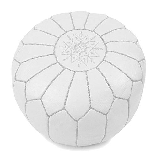 ALMADIH Leder Pouf Sitzkissen weiß aus robustem echtem Leder mit formstabiler Füllung -100% traditionelle Handarbeit – Sitzsack Ottoman marokkanische orientalische Lederkissen Bodenkissen (Pouf weiß)