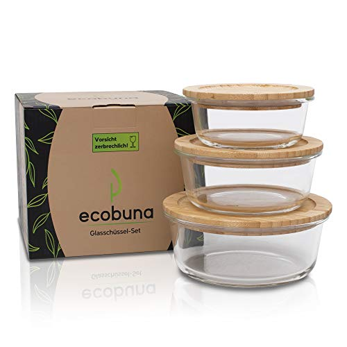 ECOBUNA® Glas Frischhaltedosen rund mit Bambus Deckel [3er Set] -Glasbehälter mit Holzdeckel –Glasschüssel mit Deckel –Glas Vorratsdosen –Glasdosen mit Deckel –plastikfrei
