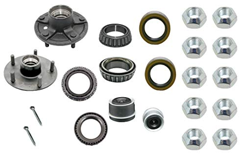 """M-parts 88-545KIT Set of 2 Trailer Idler Hub Kits 5 on 4.5"""" for 3,500 lbs Axle"""