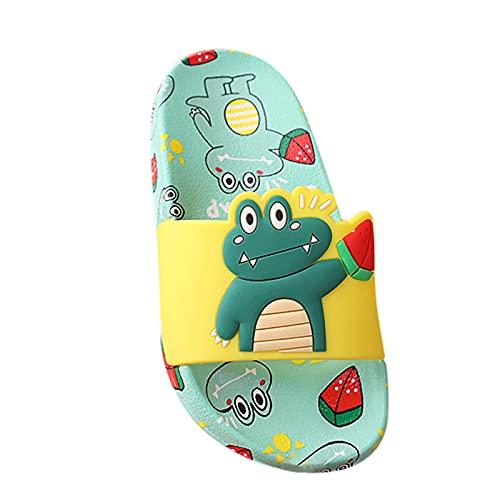 Zapatillas de estar por casa para niñas y jóvenes, con dibujos animados, antideslizantes, para el verano, para la playa, para el hogar y el aire libre, verde, 28