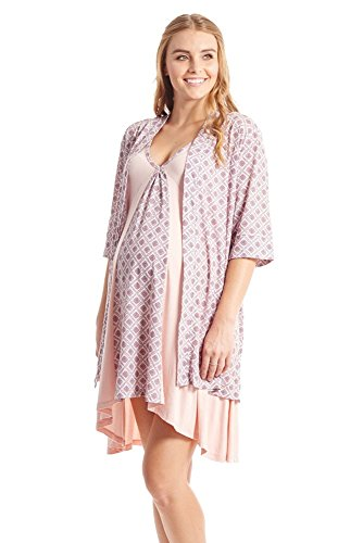 Everly Grey Susan 5-pc. Maternity & Nursing PJ Set with Gift Bag - L - Pink Blush
