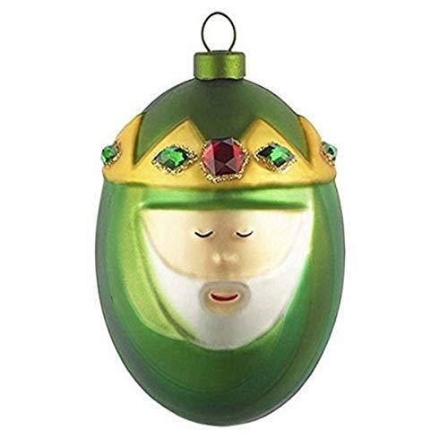 Alessi AMJ13 9 Melchiorre Heilig König Melchior Weihnachtskugel, Handdekoriertes Geblasenes Glas, Grün
