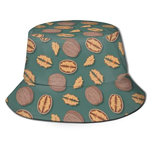 GOSMAO Bucket Hat Packable Reversible Reife Walnusskerne Print Sun Hat Fisherman Caps für Männer Frauen
