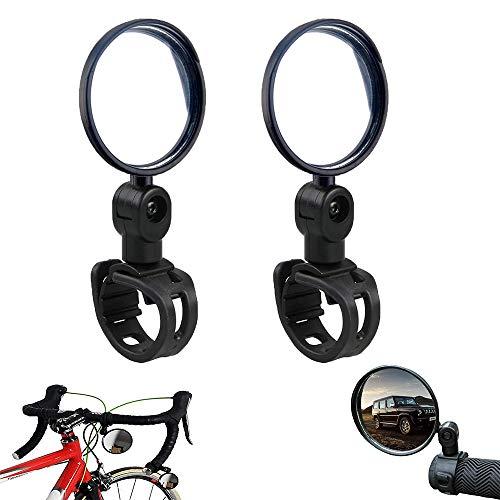 Specchietti Bici Specchietto Retrovisore per Bicicletta Convesso Specchio Convesso Specchietto Retrovisore per Bicicletta 360 °Regolabile Specchio Rotante, Facile da Installare Leggero, nero
