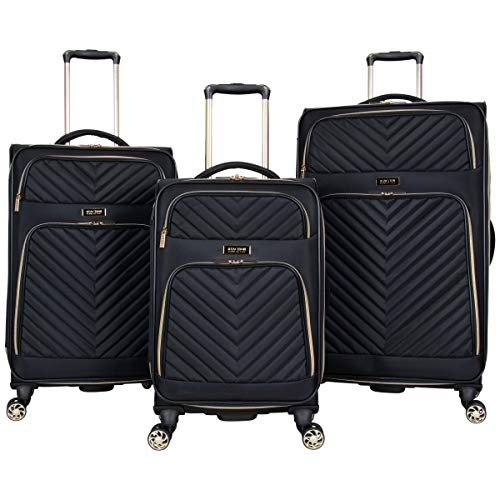 Kenneth Cole Reaction Women's Chelsea 3-Piece 20'/24'/28' Chevron Quilted Softside Expandable 8-Wheel Spinner Luggage Set, Black