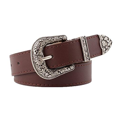 Western Belts for Women Vintage Western Design Ladies Cowgirl Waist Belt Pin Buckle Pattern for Jeans (Brown)