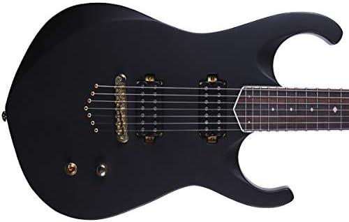 Kingdom ONYX7 - Guitarra eléctrica barítona de 7 cuerdas, escala de 27 pulgadas, cuello de arce de caoba de 3 piezas, acabado negro mate, herrajes dorados