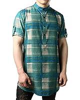 JOGAL Men's African Dashiki Print Short Sleeve Casual Button Down Mandarin Collar Shirts Medium Blue