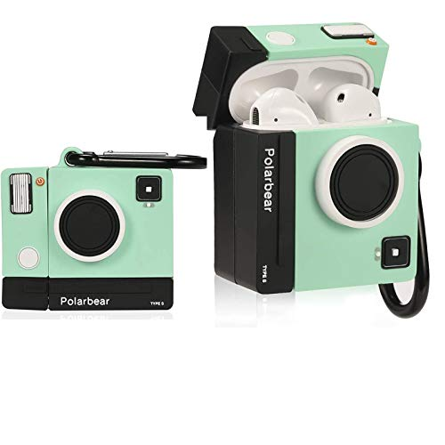 Green Camera Compatible with Airpods 1/2 Case Silicone,Cute Cartoon 3D Cool Air pods Design Cover, Fun Kawaii Fashion,Green Camera
