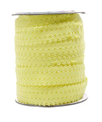 Mandala Crafts Elastic Lace Ribbon Decorative Stretch Trim for Elastic Headband, Lingerie, Sewing 1 Inch 55 Yards Roll Yellow
