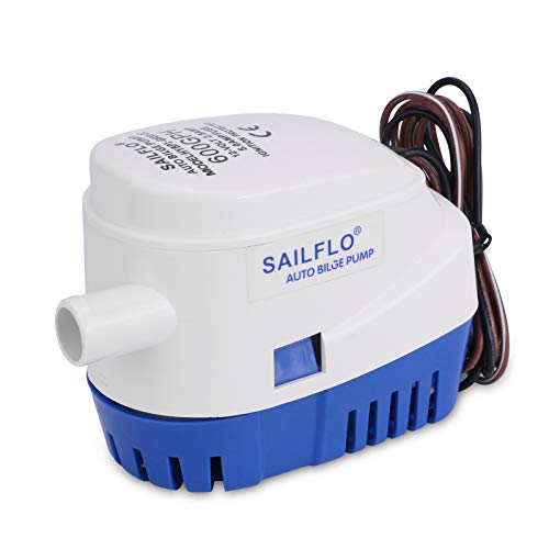 SAILFLO Bilge Pump Automatic with Float Switch 12v Pump for Boat 600 GPH 12 Volt DC All-in-one Marine Submersible Water Pump 4 Year Warranty Auto Yacht RV
