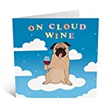 Central 23 - Funny Birthday Card - 'On Cloud Wine' - Pun Design - Witty Anniversary Card - Cute Animal Dog Card - For Men Women Wife Husband Best Friend - Comes with Fun Stickers
