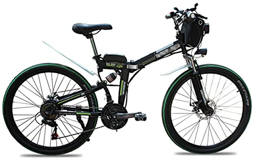 Folding Electric Bikes for Adults 26' Mountain E-Bike 21 Speed Lightweight Bicycle, 500W Aluminum Electric Bicycle with Pedal for Unisex And Teens (Color : Green)