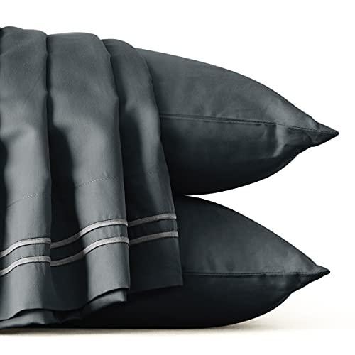subrtex Juego de Funda Nórdica de Cama de 3 Piezas Cierre de Botón de Algodón Tencel Transpirable 2 Fundas de Almohada Ultra Suave Ligero Reversible (230×220cm, Gris)