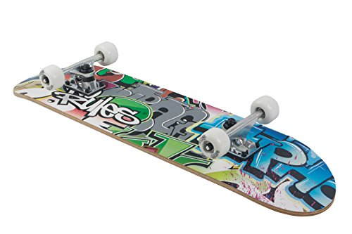 Skateboard ABEC 5, No Rules, Graffiti mit Rucksack