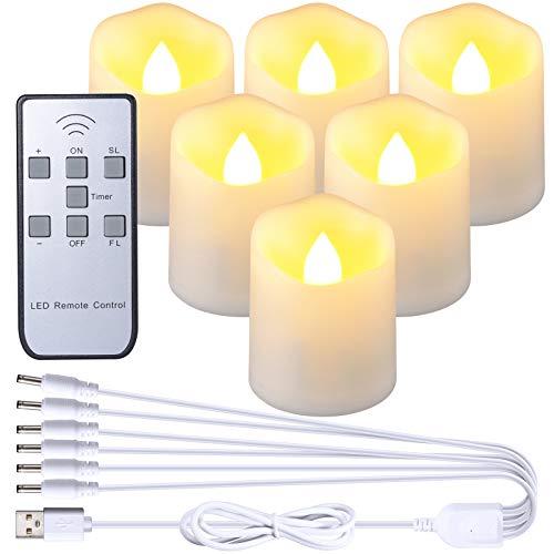 PChero USB Candele Ricaricabile, Set di 6 Candele a LED Elettrica Luci del Tè Senza Fiamma con Telecomando Timer per Decorazioni di Natale Halloween Casa Festa