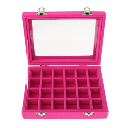 Boîte D'affichage de Bijoux 24 Section Velours avec Miroir Organisateur d'Art de L'ongle - Fuchsia