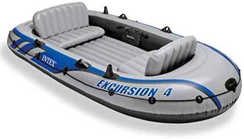 SYue Schwimmbad, 4-Personen-Schlauchboot-Set mit Aluminium-Rudern und Hochleistungs-Luftpumpe Seefischerei-Schwimmbad