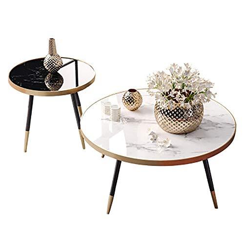 DHTOMC Muebles de Madera Mesa Ronda de mármol Mesa Pequeño Apartamento Sala Hierro Creativo Tamaño de la Tabla de café Fácil de Montar (Color : White, Size : 80x80x50cm)