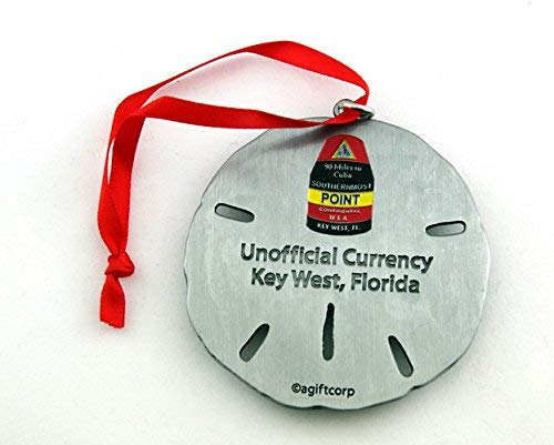 Key West Florida Southernmost Point Silver Sand Dollar Ornament