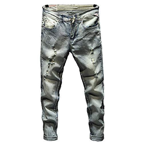 Vaqueros para Jeans Pantalones Pantalones Vaqueros Rasgados para Hombre Pantalones De Mezclilla De Primavera Y Otoño Ajustados Elásticos De Color Azul Claro Pantalones Vaqueros De