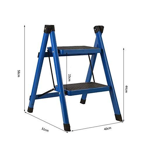 Qazxsw Tritthocker Haushalt Eisen Kunst Zwei Schritte Klappleiter Küchentreppe Hocker Kapazität 150 kg Multifunktionshocker (Farbe: Grün)