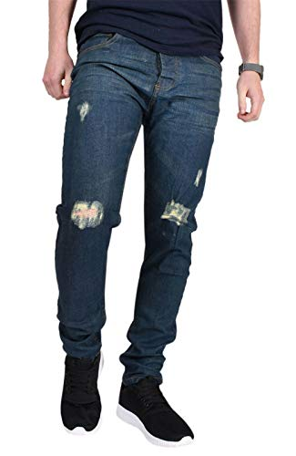 HOCHSTE Heren Ripped Regular Fit Stretch Denim Distressed Jeans