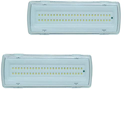 SLS SHOP 2X Lampada Di Emergenza Con 50 Led Completa Di Incasso E Batteria Luce Bianca 4W