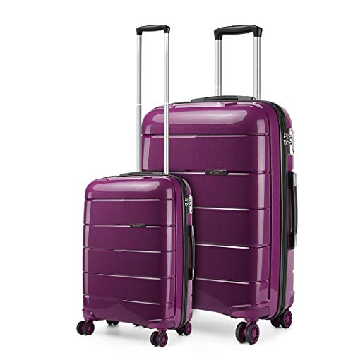 Kono Lightweight Polypropylene 2 Piece Luggage Set 20' Cabin + 28' Check in Spinner Suitcase with TSA Lock and YKK Zipper (Purple)