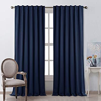 NICETOWN Window Treatment Blackout Curtains - (Navy Color) 52 inches W by 108 inches L Each Panel, Set of 2 Panels, Blackout Drape Panels for Nursery
