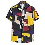 Shirt Hombre Verano Básico Suelto Cardigan Hombre Camiseta Moderno Urbano Vintage Estampado Hombre Casuales Camisa Ligero Casual Vacaciones Hombre Manga Corta