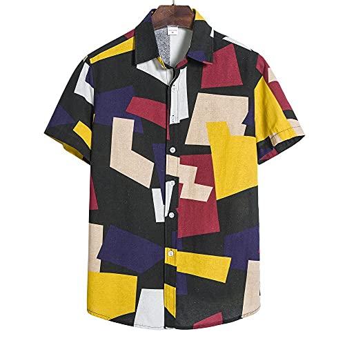 Hawaiana Camisa Hombre Moderna Holgada Cuello V Hombre T-Shirt Verano Cárdigan Vintage Estampado Hombre Manga Corta Urbano Casual Vacaciones Hombre Playa Shirt TC72-Black XL
