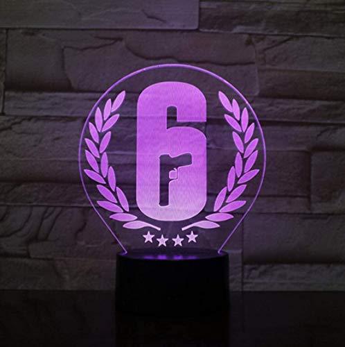 Rainbow Six Siege Spiel LED Nachtlicht Tischlampe Raumdekor USB-Aufladung Berührungssensor Licht Junge Kind Geschenk Nachtlampe