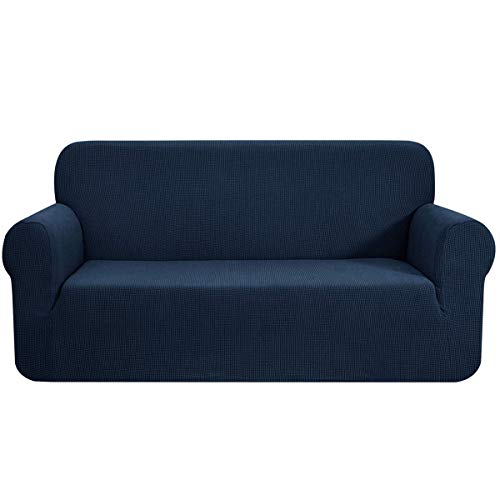 CHUN YI Stretch Sofa Slipcover 1-Piece Couch Cover, 3 Seater Coat Soft with Elastic, Checks Spandex Jacquard Fabric, Large, Dark Blue