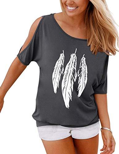 GNRSPTY Mujer Casual Camiseta Manga Corta Sin Tirantes Verano Estampado de Plumas Suelto T-Shirt Tops,Gris,XL