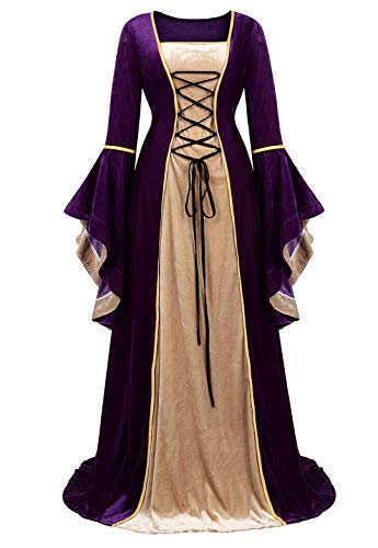 Womens Renaissance Medieval Dress Costume Irish Lace up Over Long Dress Retro Gown Cosplay Purple Large