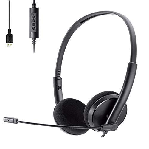 VOKY Headset PC,Gaming Headset,Headset USB mit Mikrofon,Rauschunterdrückung und Audiosteuerung, PC-Kopfhörer für Skype Call Center-Bürocomputer, klare Stimme, superleicht, Ultra-Komfort