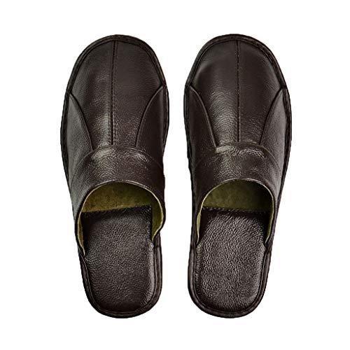 AYDQC Zapatillas de Cuero de Vaca Pareja Interior Antideslizante Hombres Mujeres hogar Moda Casual Zapatos Individuales PVC Suelas Suaves Primavera Verano (Color : Black, Size : 43)