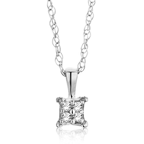 Orovi, collar y colgante para mujer con cadena de oro blanco de 18 quilates/750 con diamantes de talla brillante, 45 cm