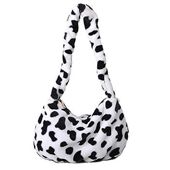 PRETYZOOM Plush Shoulder Bag Cow Print Handbag Women Plush Tote Bag Autumn Winter Soft Casual Fluffy Female Handbag Style 1
