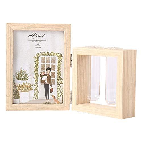 DAGUAI 7 Inch Tabletoprahmen Holz Bilderrahmen Fotoalben und Anlage 2 Vase Combo, doppelseitiges Display Klapptisch-Desktop Holzständer, Glas