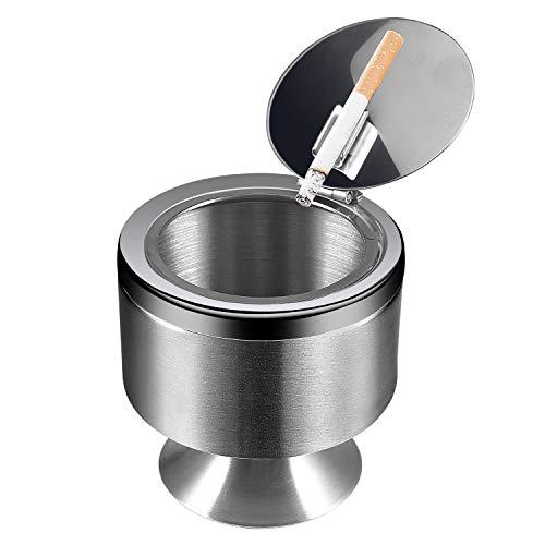 Yosemy Aschenbecher mit Deckel, Großer Edelstahl Aschenbecher Windgeschützt Taschenaschenbecher, Tischaschenbecher mit rutschfeste Basis für Home Office Dekoration (Silver)