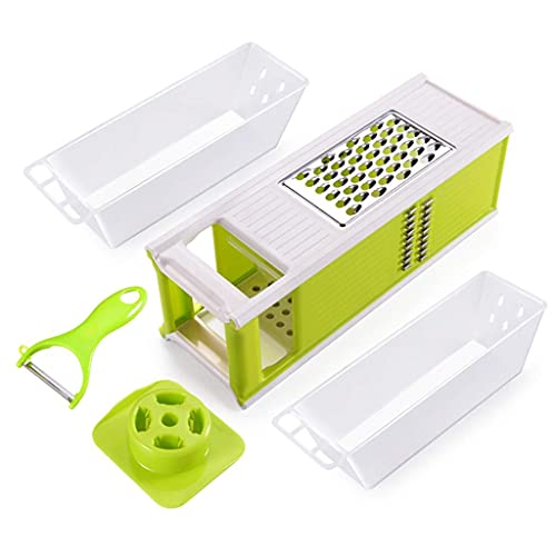 LSNLNN Choppers,Vegetable Slicer Adjustable Thickness,Slicer Handheld Spiralizer Sharp Stainless Steel Blade with Container for Zucchini Noodles Onion Garlic and More,Green,Set of 5