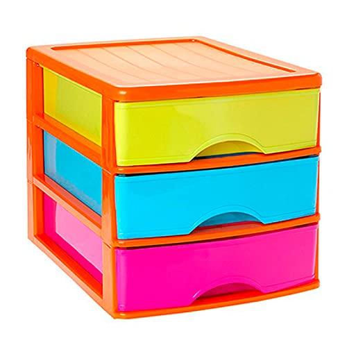 Acan Plastic Forte - Cajonera de sobremesa de plástico, Estructura Naranja, 3 cajones Multicolor 26 x 27 x 35,5 cm. Torre de almacenaje y organización Multiusos, Oficina, hogar