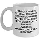 Taza de desayuno con diseño de maestro jardinero, regalo de jardinería divertido para hombres, regalo de jardinería para jardinero, impresionante taza de café divertida