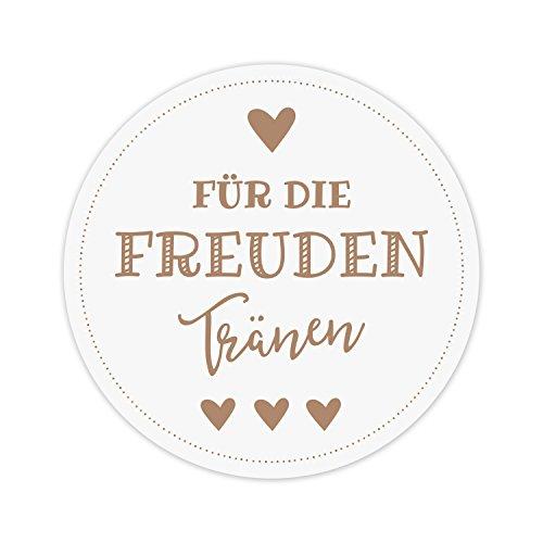 50 Aufkleber Für die Freudentränen - Sticker mit wunderschönem Vintage Design weiß-braun - 5 cm Durchmesser - Ideal für Hochzeit Taschentuch Hüllen (braun, 50 Stück)