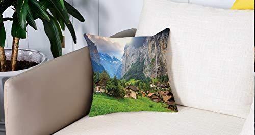 Mingdao Home Decor Sofa Werfen Kissenbezüge,Bauernhof, Stadt an den Felsen am Wasserfall Hintergrund Europäische Gipfel Sonnenlicht Die Alpen, Tortilla,Kissen Cover Square Pillowcase